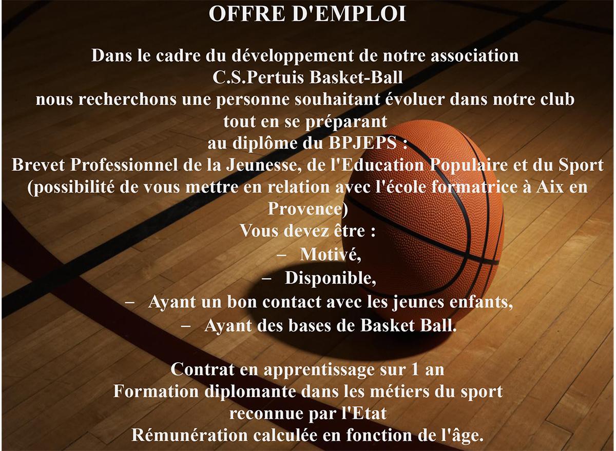 Offre d'emploi BPGEPS Basket