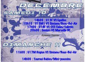 Venez encourager nos équipes les 10 et 11 Décembre!